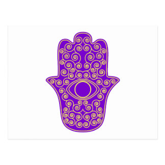 Purple Yellow Hamsa-Hand of Miriam-Hand of Fatima. Post Cards