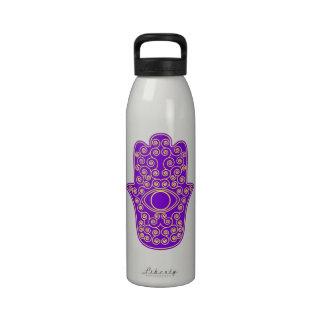 Purple Yellow Hamsa-Hand of Miriam-Hand of Fatima. Drinking Bottle