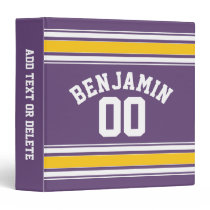 Purple Yellow Jersey Stripes Custom Name Number 3 Ring Binder