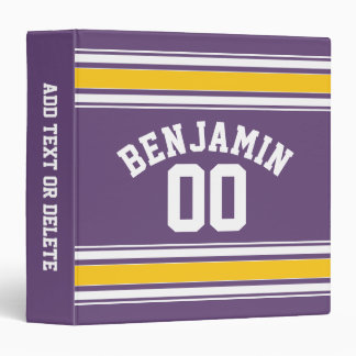 Purple Yellow Jersey Stripes Custom Name Number 3 Ring Binder