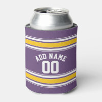 Purple Yellow Jersey Stripes Custom Name Number Can Cooler
