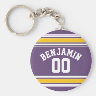 Purple Yellow Jersey Stripes Custom Name Number Keychain