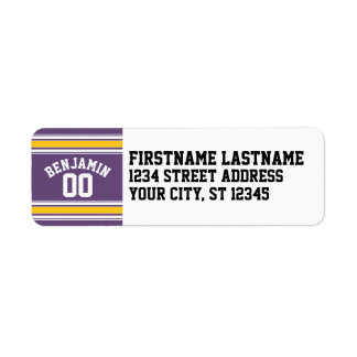 Purple Yellow Jersey Stripes Custom Name Number Label