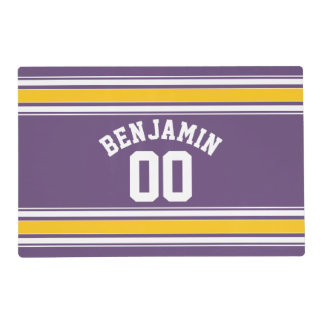 Purple Yellow Jersey Stripes Custom Name Number Placemat