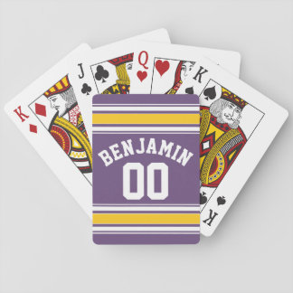 Purple Yellow Jersey Stripes Custom Name Number Playing Cards