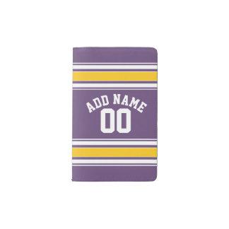 Purple Yellow Jersey Stripes Custom Name Number Pocket Moleskine Notebook
