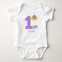 Purple Yellow Mint Owl Polka Dot 1st Birthday Girl Baby Bodysuit