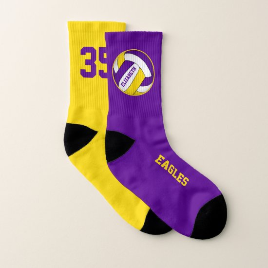 purple yellow mismatched girls volleyball team socks