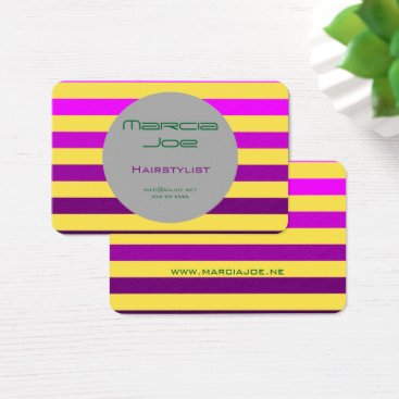 Purple yellow monochrome striped business cards