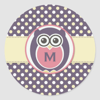 Purple Yellow Night Owl Cartoon Monogram Stickers