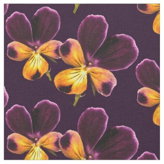 Purple Yellow Pansy Flower Floral Fabric