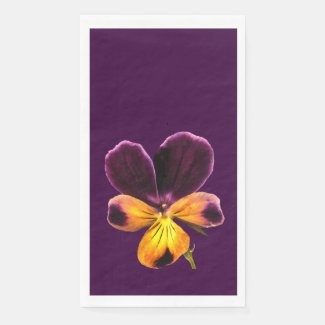 Purple Yellow Pansy Flower Paper Guest Towel