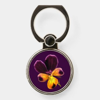 Purple Yellow Pansy Flower Phone Ring Holder