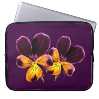 Purple Yellow Pansy Flowers Floral Laptop Sleeve