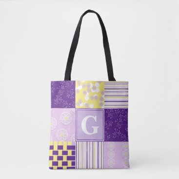 Beach Themed Purple & Yellow Patchwork Monogram Tote Bag