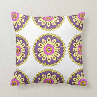 Purple & yellow petals designer pillow