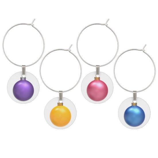 Purple Yellow Pink & Blue Christmas Ball Charms