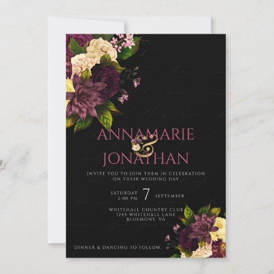 Purple Yellow Pink Peonies & Roses Wedding & RSVP Invitation