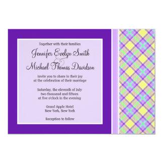"Purple & Yellow Plaid 5"" X 7"" Invitation Card"