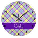 Purple & Yellow Plaid Pattern Clock