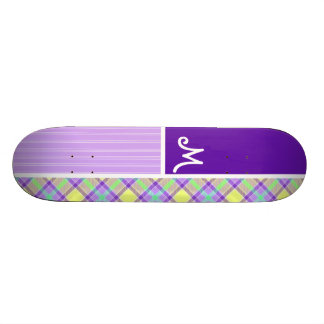 Purple & Yellow Plaid Skate Board Decks