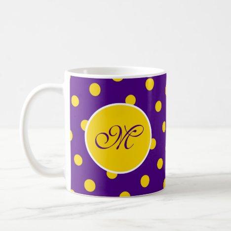 Purple Yellow Polka Dot Initial Fun Pretty Custom Coffee Mug