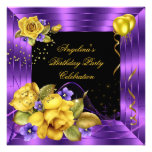 Purple Yellow Rose Black Glitter Birthday Party Invitation