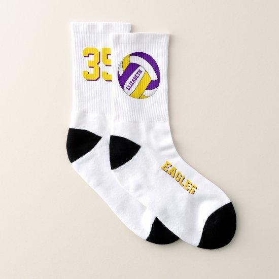 purple yellow school team spirit girls volleyball socks