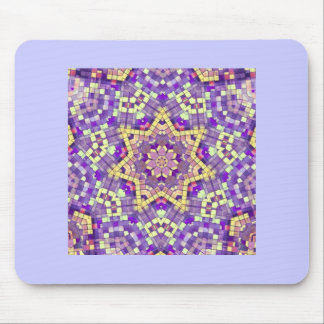 Purple & yellow star kaleidoscope pattern mouse pad