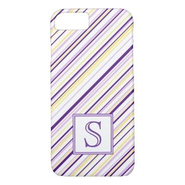 kellygalloway Purple & Yellow Stripe Monogram Phone Case