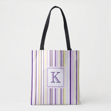 Beach Themed Purple & Yellow Stripe Monogram Tote Bag