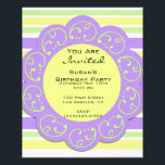 """Purple Yellow Striped Party Invites Flyer<br><div class=""""desc"""">Purple Yellow Striped Party Invitations. Customize with your own words and text. Birthday party,  special occasion or event. Colorful,  bright,  fun perfect for summer or spring events.</div>"""