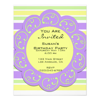Purple Yellow Striped Party Invites Flyer