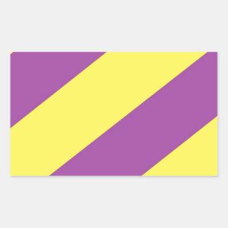 Purple & Yellow Stripes Rectangle Stickers