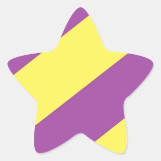 Purple & Yellow Stripes Star Sticker