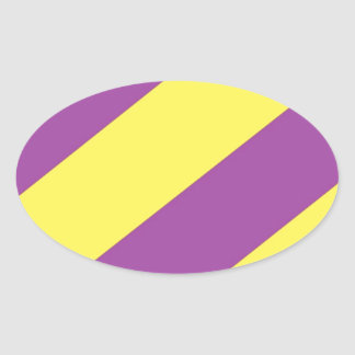 Purple & Yellow Stripes Oval Sticker