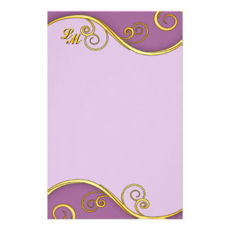 Purple-yellow Swirl with Monogram Stationery Paper