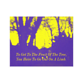 Purple yellow Tree Abstract Encouraging Quote Canvas Print