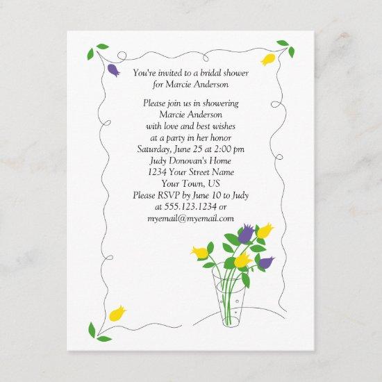 Purple Yellow Tulip Flowers Bridal Shower Invite