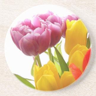 Purple & Yellow Tulips Sandstone Coaster