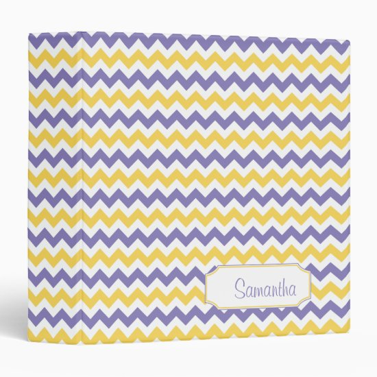 Purple Yellow White Chevron Pattern Personalized 3 Ring Binder
