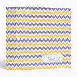 Purple Yellow White Chevron Pattern Personalized Vinyl Binders