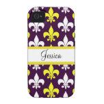 Purple, Yellow, & White Fleur de Lis iPhone 4/4S Cover