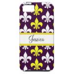 Purple, Yellow, & White Fleur de Lis iPhone 5 Case