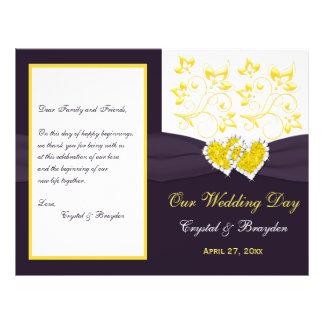 "Purple Yellow White Floral, Hearts Wedding Program 8.5"" X 11"" Flyer"