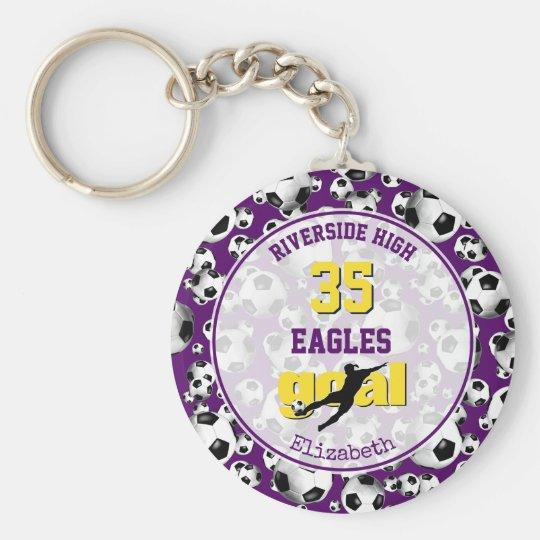 purple yellow white school team name girly soccer keychain