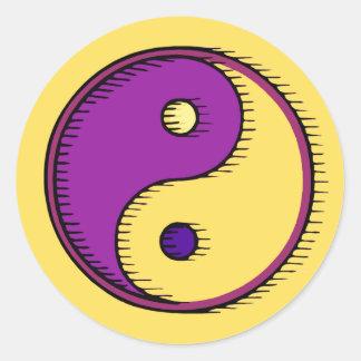 Purple Yellow Windblown Yin Yang Classic Round Sticker