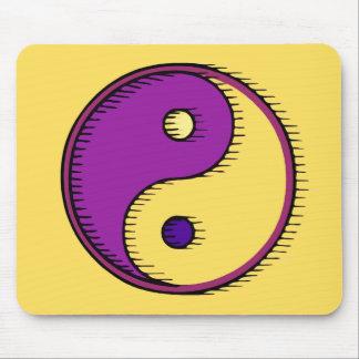 Purple Yellow Windblown Yin Yang Mouse Pad