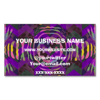 Purple Yellow Zebra Abstract Pattern Business Card Magnet