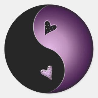 purple yin yang classic round sticker